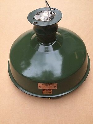 "Industrial GREEN PORCELAIN ENAMEL LIGHT FIXTURE 14"" Shade Barn Garage GasStation"