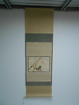 Vintage Japanese Scroll Hand Painted - Bamboo & Berries c1960 Signed