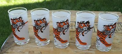 Five (5) Glasses  Collectiable Esso Tiger In Your Tank Exxon Frosted Gas Station