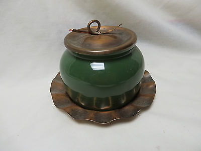 rare VINTAGE COORS POTTERY THERMO PORCELAIN MUSTARD POT,COPPER LID,PLATE,BOWL