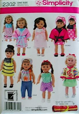 """New-Simplicity #2302-18"""" American Girl Sz Doll Clothes-Jackets,Shoes,Robe,Tops++"""