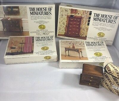 Lot of THE HOUSE OF MINIATURES KITS Vintage DOLLHOUSE Furniture Doll