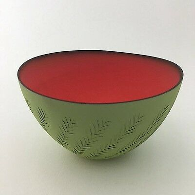 Wonderful Delicate Thin Pottery Bowl Green & Red Watermelon Signed R M
