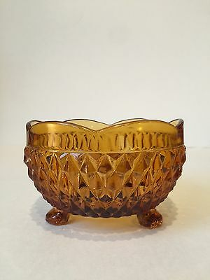 Vintage INDIANA GLASS DIAMOND POINT FOOTED AMBER Candy Dish/Bowl w/SCALLOPED RIM