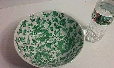 Antique Asian Chinese Japanese Green dragon bowl