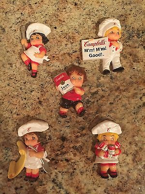 (5) Campbell's Soup Kids Refrigerator Fridge Figure Magnets 1995 VGC