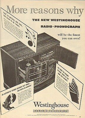 1945 Westinghouse Radio-Phonograph. Finest You Can Own. Vintage Ad