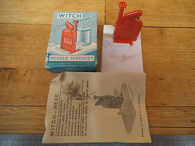 Vintage Old English Made Needle Threader Witch & Box Unused