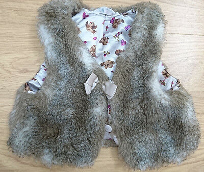 H&m Girls Coat Jacket Age 3-4 Years Brown Faux Fur Gilet