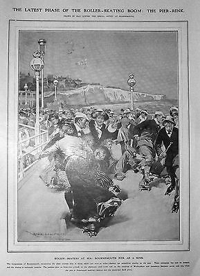 ROLLER SKATING - Nice early print, 1909
