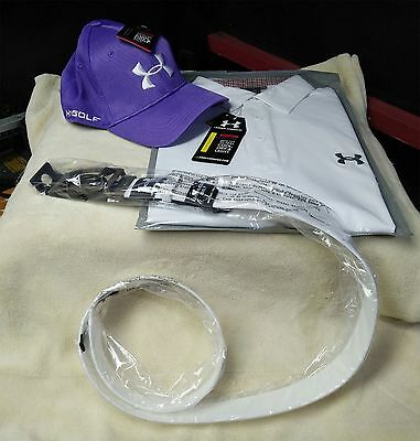 Under Armour Gift Set White Shirt, White Silicone Belt, Purple Cap Free Delivery