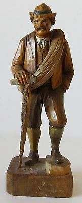 "HAND-CARVED WOODEN FIGURE - FOLK ART - 7-1/2"" - OLD MAN W/CANE -Unmarked-"