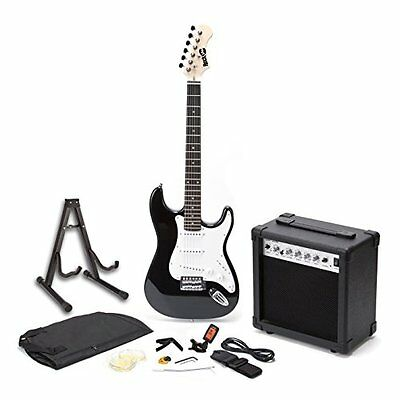 RockJam Full Size Black Electric Guitar with Amp Strings Tuner Case & Cable