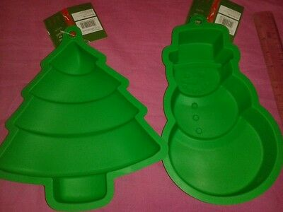 Christmas Tree and Snowman silicon cake moulds