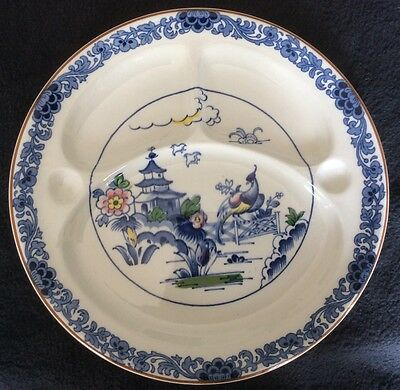 """RARE Vintage BOOTHS PAGODA Handpainted DIVIDED Dinner Plate 10-3/4"""""""