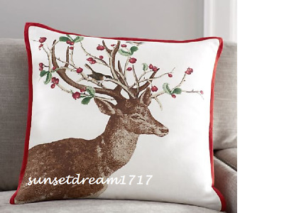 "Pottery Barn Christmas Winter Berry Doe Indoor/Outdoor Pillow 20"" square"