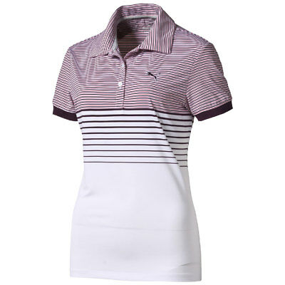 Puma W Double Stripe Polo Shirt Ladies Golf Dry Cell