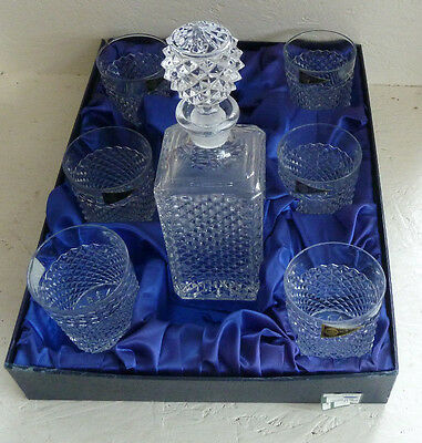 Boxed Set Crystal RCR Six Whiskey Glass Tumblers and Decanter