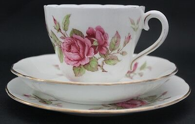 ADDERLEY fine bone china cup, saucer plate trio. Pink roses. Made in England.