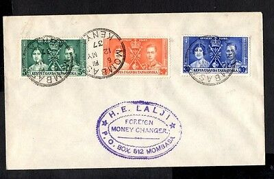 (Ref-8922) K.U.T. 1937 Coronation First Day Cover SG.128/130  Mombasa Postmark