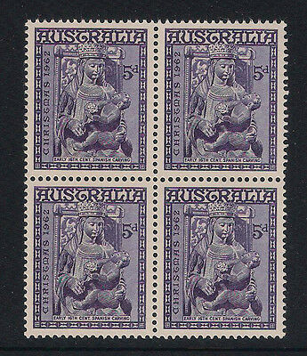 1962 - 5d CHRISTMAS MADONNA WITH CHILD BLOCK OF 4 - MINT NEVER HINGED SUPERB
