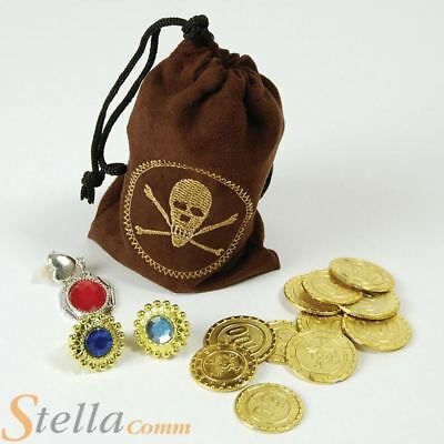 Brown Pirate Coin Treasure Rings Jewellery Bag Fancy Dress Costume Accessory