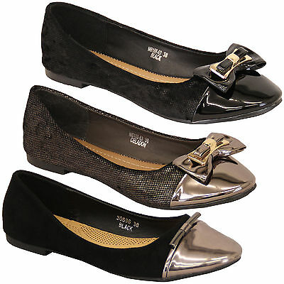 ladies ballerina shoes womens flat pumps slip on patent bow casual fashion new
