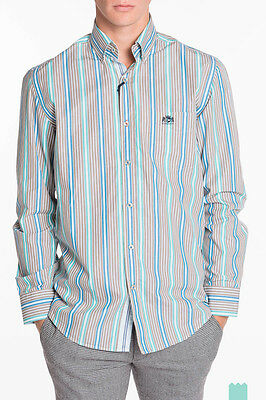 STATE OF ART Size M Men's Striped Button Front Regular Fit Shirt - From POPPRI