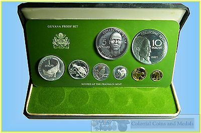 Guyana :- Proof Set 1977, 8 Coins including 2 Large Silver $5 & $10  ... FDC