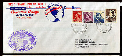 1955 Flight Cover Polar Route  Sydney To Amsterdam By Canadian Pacific Airlines