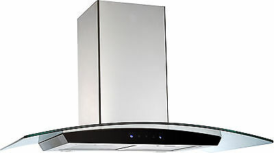 SALE Genoa Range Hood 90cm/900mm – Touch Control Curved Glass Stainless Steel