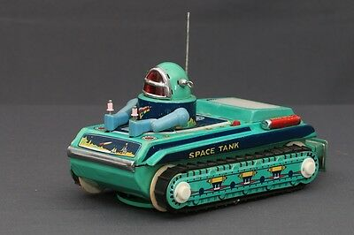 Rare 50-60's ME091 Battery Operated Space Tank Explorer with Spaceman Tin Toy