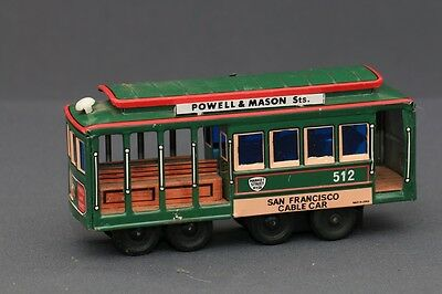 Rare Japanese Made Friction Motor San Francisco Cable Car #512 Trolley Tin Toy