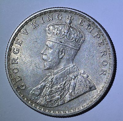 1915 ONE RUPEE   INDIA Silver coin AU/UNC