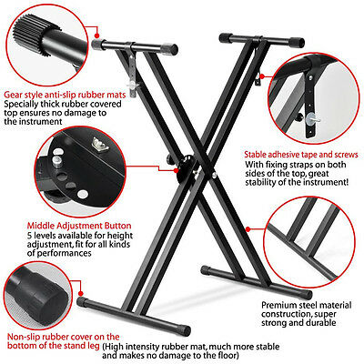 AU Keyboard Stand Folding Adjustable Double-Braced With Straps Music Accessories
