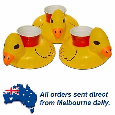 5 DAY BARGAIN Yellow Duck inflatable Floating Drink Can Holder Pool Party