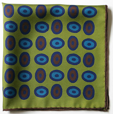 Olive green & blue lozenge hand printed silk pocket square 42cm. Hand rolled
