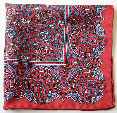 Rust & blue Paisley silk pocket square. Hand rolled edges. 30cm Made in England