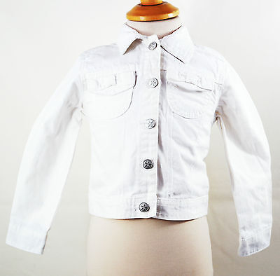 Girls White Long Sleeve Denim Jacket by George Bow Detail Pockets Size 3-4 Years