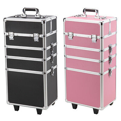 AU 7 In 1 Cosmetics Beauty Case Makeup Box Carry Bag Organiser Trolley Portable