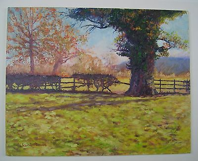 Greg Learmonth oil /acrylic painting on canvas Autumn Landscape Lower Wharfedale