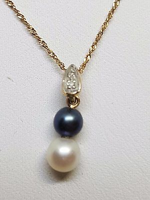100% Genuine 9Ct Y/gold Black & White Pearl With Diamonds Pendant And Chain