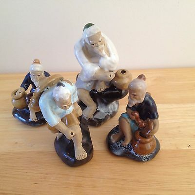 Collectable 4 Small Chinese Mudmen