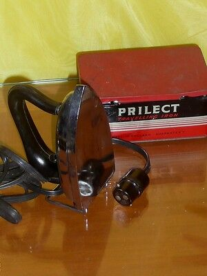 Vintage Prilect Travelling Iron Made in England Collectable 1950s Cast Tin Box