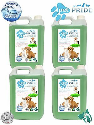 4 x 5L Pet Pride Kennel, Cattery Disinfectant, Cleaner, Deodoriser - FLORAL