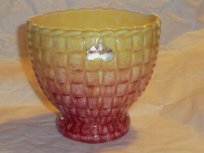 1960s Australian Pottery - labeled Hollywood Maroon & Yellow Vase by Diana