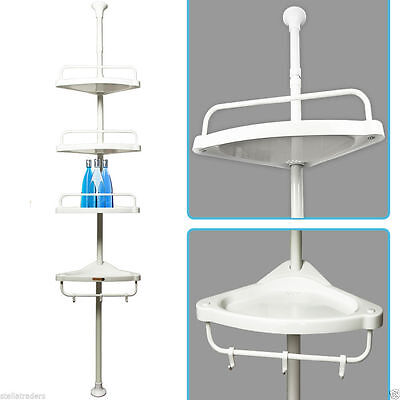 Telescopic Shower Shelf caddy bathroom corner storage unit white plastic 1908