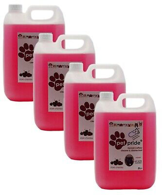 4 X 5L Pet Pride Kennel, Cattery Disinfectant, Cleaner, Deodoriser - CHERRY