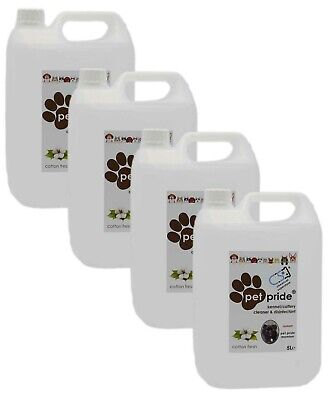 4 x 5L Pet Pride Kennel, Cattery Disinfectant, Cleaner, Deodoriser - COTTON