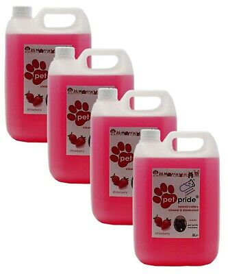 4 x 5L Pet Pride Kennel, Cattery Disinfectant, Cleaner, Deodoriser - STRAWBERRY